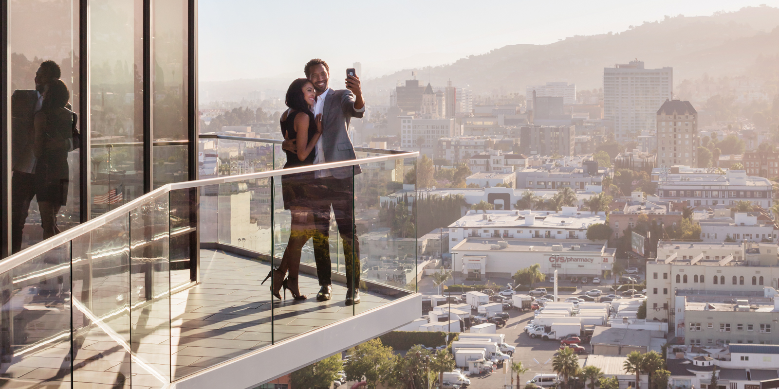 Celebrating the view from Argyle House in Los Angeles
